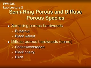 Semi-Ring Porous and Diffuse Porous Species