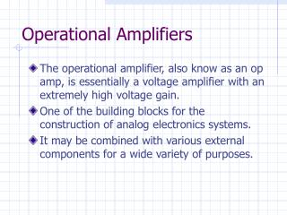 Operational Amplifiers