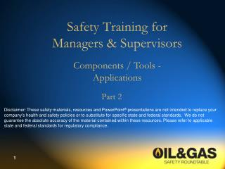 Safety Training for Managers  Supervisors