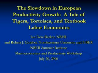 The Slowdown in European Productivity Growth:  A Tale of Tigers, Tortoises, and Textbook Labor Economics