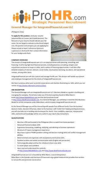 Hiring a General Manager for IntegratedFinancial.com LLC