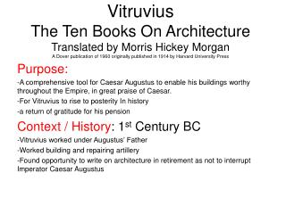 Vitruvius The Ten Books On Architecture Translated by Morris Hickey Morgan A Dover publication of 1960 originally publis
