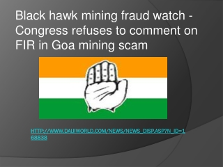 black hawk mining fraud watch - Congress refuses to comment