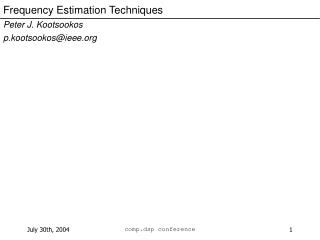 Frequency Estimation Techniques