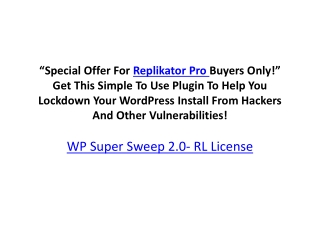 WP Super Sweep 2.0- RL License