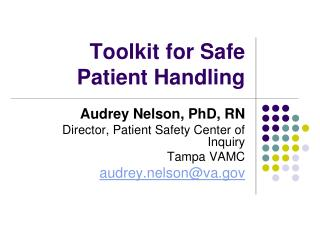 Toolkit for Safe Patient Handling