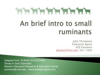 An introduction to small ruminant enterprises