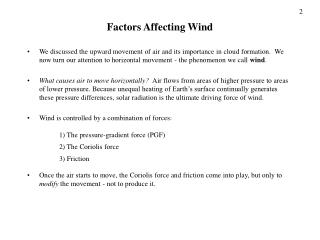 Factors Affecting Wind