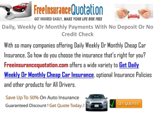 Car Insurance On Daily ,Weekly Or Monthly Bases