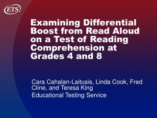 Examining Differential Boost from Read Aloud on a Test of Reading ...