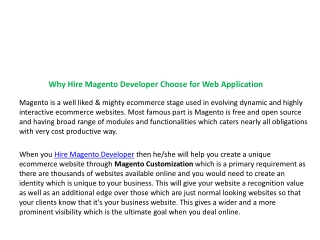 Why Hire Magento Developer Choose for Web Application