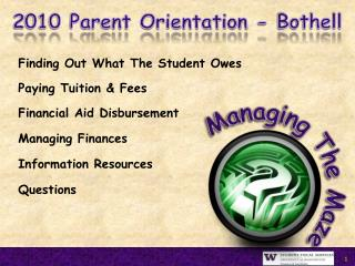 Finding Out What The Student OwesPaying Tuition  FeesFinancial Aid DisbursementManaging FinancesInformation ResourcesQue
