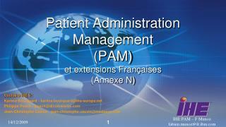 Patient Administration  Management  PAM et extensions Fran aises Annexe N