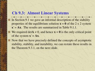 Ch 9.3: Almost Linear Systems