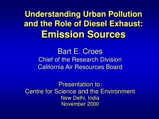Understanding Urban Pollution and the Role of Diesel Exhaust ...