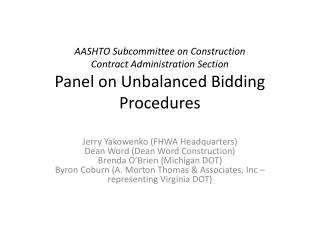 AASHTO Subcommittee on Construction Contract Administration ...