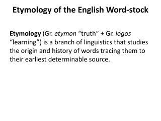 Etymology of the English Word-stock