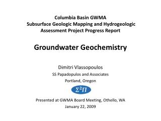 Columbia Basin GWMA  Subsurface Geologic Mapping and Hydrogeologic Assessment Project Progress Report   Groundwater Geoc