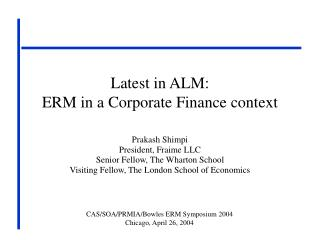 Latest in ALM: ERM in a Corporate Finance context