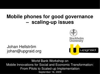 Mobile phones for good governance     scaling-up issues