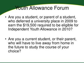 Youth Allowance Forum