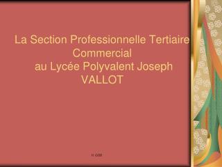 La Section Professionnelle Tertiaire Commercial   au Lyc e Polyvalent Joseph VALLOT