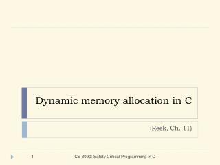 Dynamic memory allocation in C