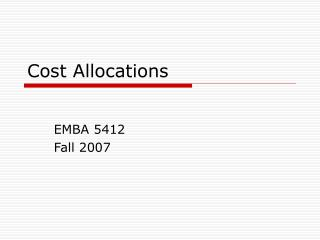 Cost Allocations