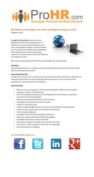 Hiring a WordPress Developer for InternetEngineering.com LLC