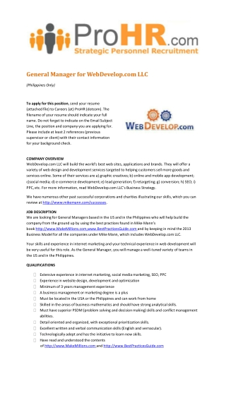 Hiring a General Manager for WebDevelop.com, LLC