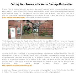 Cutting Your Losses with Water Damage Restoration