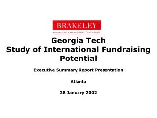 Georgia Tech Study of International Fundraising Potential