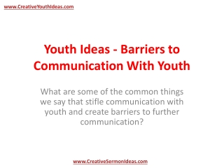 Youth Ideas - Barriers to Communication With Youth