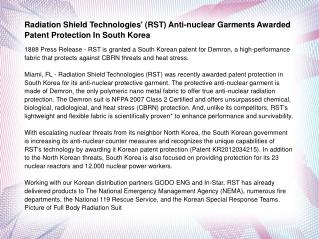 Radiation Shield Technologies' (RST) Anti-nuclear Garments