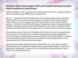 Radiation Shield Technologies' (RST) Anti-nuclear Garments