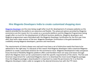 Hire Magento Developers India to create customized shopping