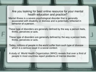 Video Featurettes, Mental Health Assessment, Mental Health E