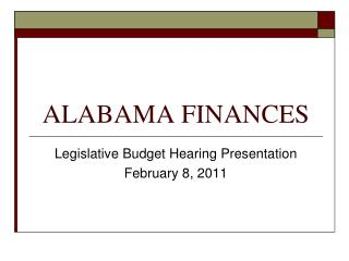ALABAMA FINANCES