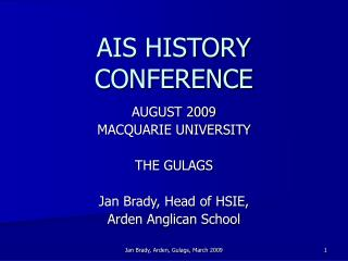 AIS HISTORY CONFERENCE