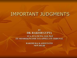 IMPORTANT JUDGMENTS