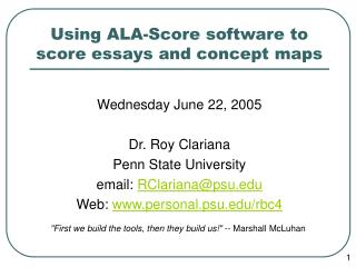 Using ALA-Score software to score essays and concept maps