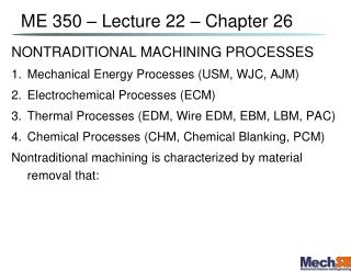 ME 350   Lecture 22   Chapter 26
