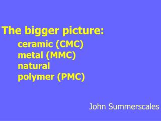 The bigger picture: ceramic CMC metal MMC natural ...