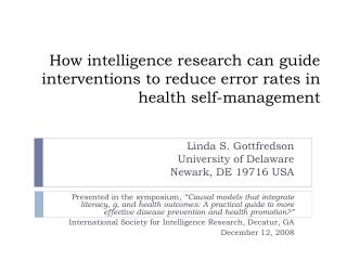 How intelligence research can guide interventions to reduce error rates in health self-management