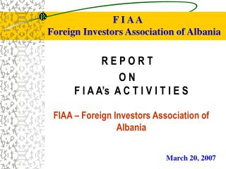 F I A A Foreign Investors Association of Albania