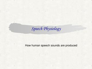 Speech Physiology