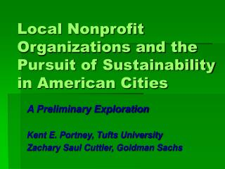 Local Nonprofit Organizations and the Pursuit of Sustainability in ...
