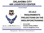OC-ALC REQUIREMENTS PROJECTIONS ON THE WEB RPOWTRAINING