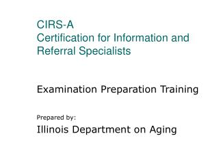 CIRS-A Certification for Information and Referral Specialists