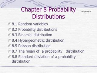 Chapter 8 Probability Distributions